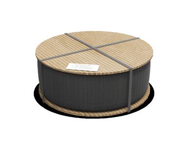 Opona zakryta okrągłymi pokrywami kartonowymi odgóry ioddołu, zabezpieczona taśmą polipropylenową wtaki sposób aby niezakrywała etykiety adresowej umieszczonej napokrywie.